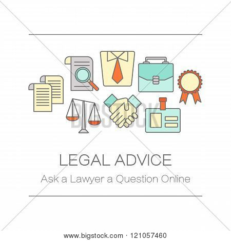 Concept of title site page or banner for legal advice.