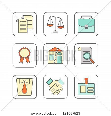 Vector set of modern flat line icons for legal advice.