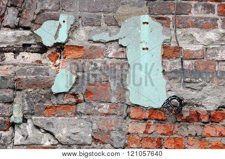 Shabby Grungy Red Brick Wall