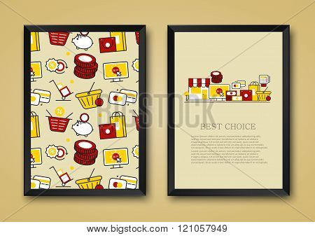 Vector modern background of flat e-commerce, shopping