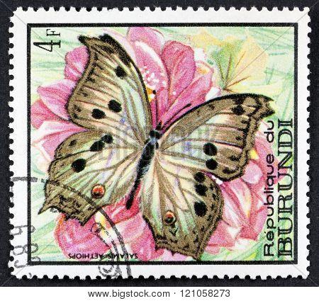 REPUBLIC OF BURUNDI - CIRCA 1968: A stamp printed in Burundi shows a series of images