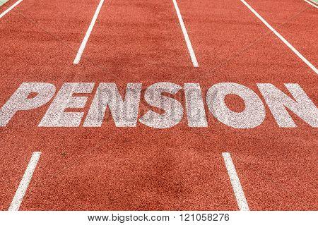 Pension written on running track