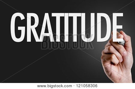 Hand writing the text: Gratitude