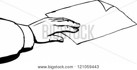 Outline Of Hand Taking Paper On White Background