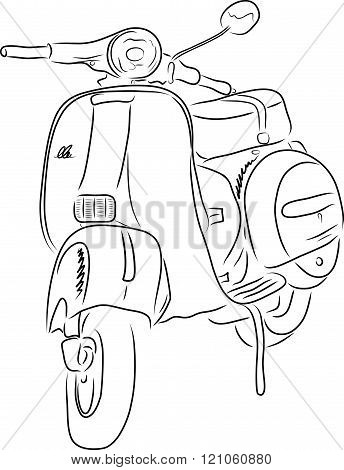 Outline of scooter, vector illustration