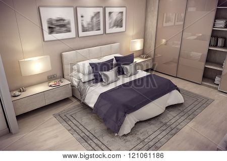 3D rendering bedroom house in the mountain