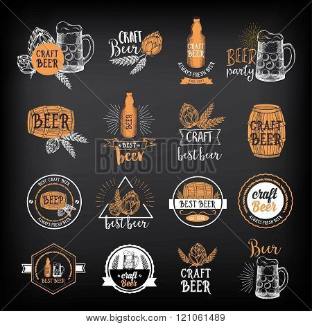 Beer restaurant cafe badges, drink template design.