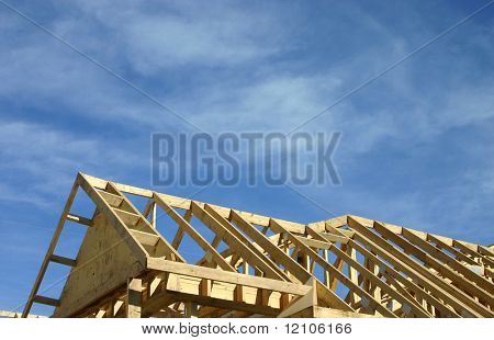 roof frame against a blue sky