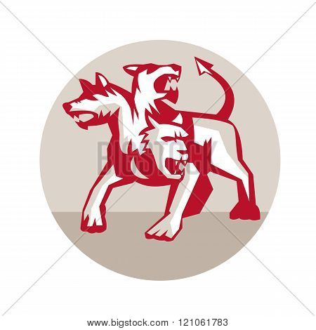 Cerberus Multi-headed Dog Hellhound Circle Retro