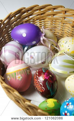 Mix Of Multicolored Vivid Easter Eggs And Rabbit