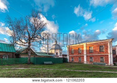 Pereslavl-Zalessky, Russia - November 03, 2015: Goritsky Monastery of Dormition, it was based in the first half of the XIV century at Ivan Kalita. Monastery courtyard fragment.