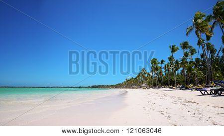 Tropical beach and beautiful clouds, Punta Cana