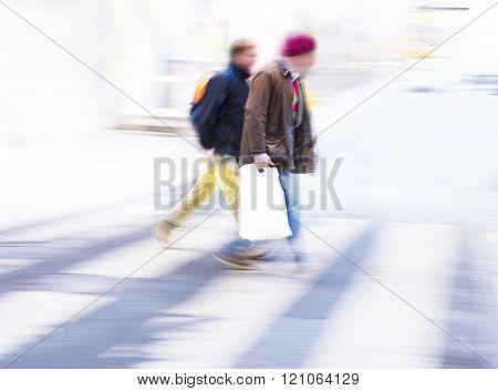 Two Men Crossing Street