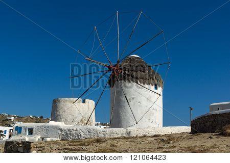 Amazing view of White windmills on the island of Mykonos, Greece