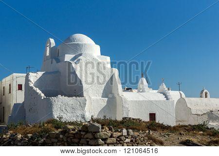 White orthodox church and blue sky in Mykonos, Greece