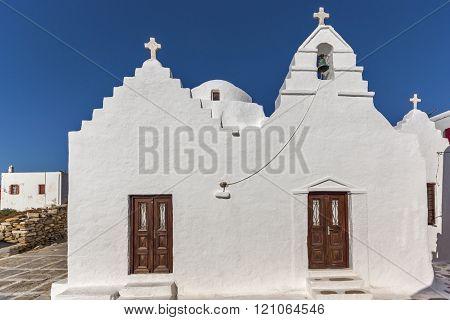 Frontal view White orthodox church in Mykonos,  Greece