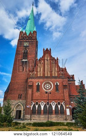 The neo-Gothic church with belfry