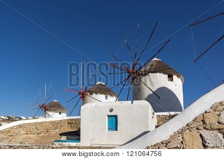 Panoramic view of White windmills on the island of Mykonos, Greece
