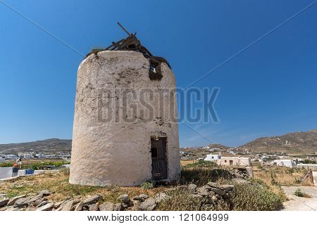 Ruins of windmill in Town of Ano Mera, island of Mykonos, Greece