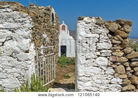 Medieval fortress and White church, Mykonos island, Greece