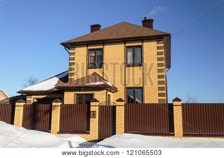 New Yellow Brick Cottage In Winter