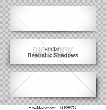 Set of blank banner sheet paper with shadow