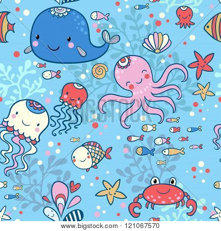 Cartoon marine seamless pattern for childish wallpapers.