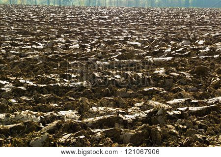 plowed field of a farmer