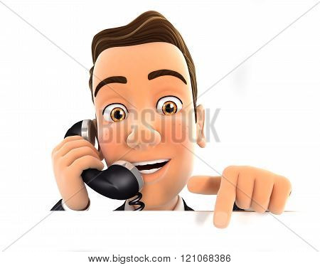 3D Businessman On Phone And Pointing To Empty Wall