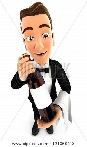 3D Wine Waiter Holding Red Wine Bottle