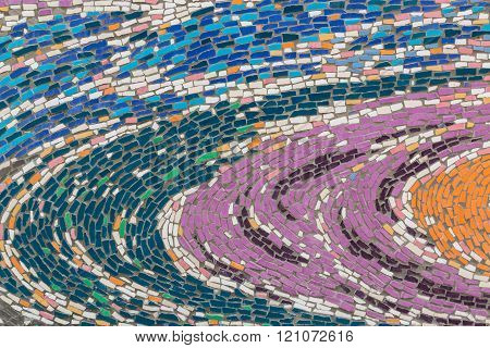 Colorful Glass Mosaic Art And Abstract Wall Background.
