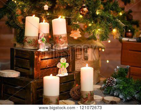 Christmas decorative burning candle
