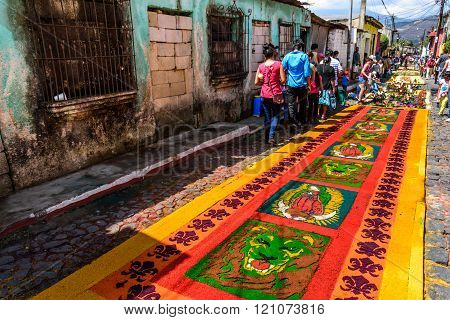 Street Of Colorful Lent Carpets, Antigua, Guatemala