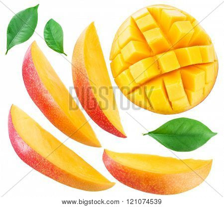 Slices of mango fruit and leaves over white. File contains clipping paths.