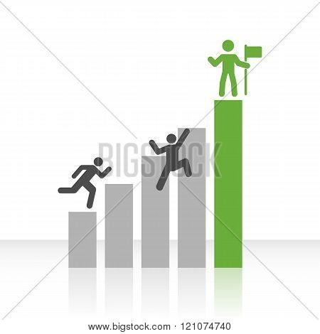 Flat Bar Chart With Climbing Men