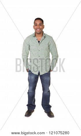 Handsome hispanic male isolated on white background