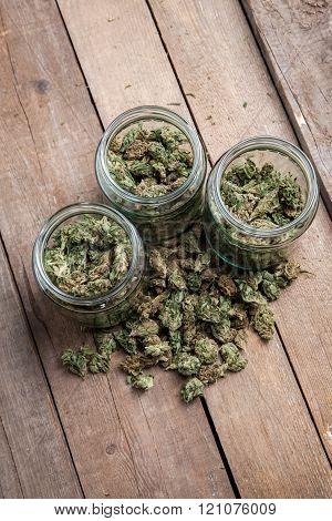 Marijuana Buds In Glass Jars