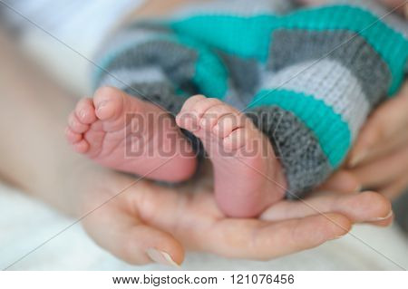 mother hands holding tiny feet of newborn son