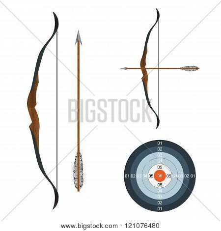 Bow, Arrow And Target.