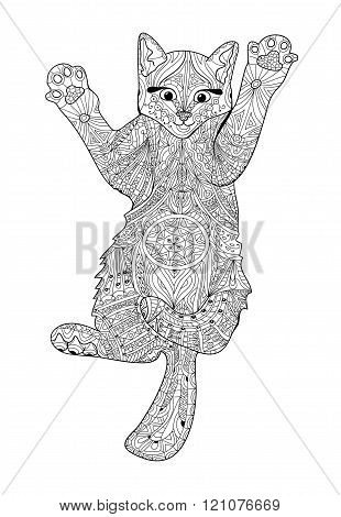 Funny kitten - coloring book for adults - zentangle cat book