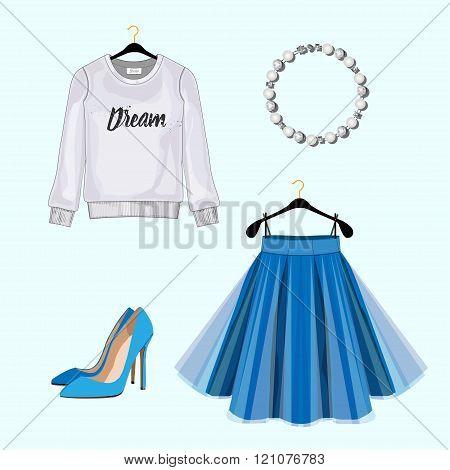 Set Of Women Fashion Clothes For Shopping Catalog. Vector Sweatshirt, Skirt,shoes,pearl Bracelet. Fa