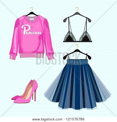 Set Of Women Fashion Clothes For Shopping Catalog. Vector Sweatshirt, Skirt,shoes, Lace Bra. Fashion