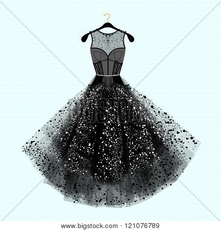 Beautiful Party Dress. Black Dress With  Rhinestones. Fashion Illustration. Black Dress For Special