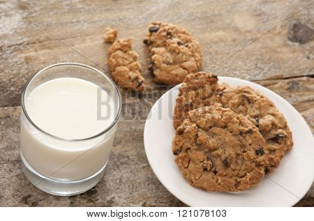 Cookies and milk on table