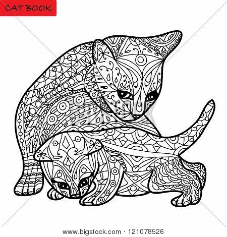Cat Mother And Her Kitten - Coloring Book For Adults - Zentangle Cat Book