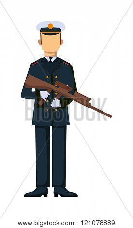 USA troop armed forces man with weapon illustration. US Army soldiers, USA troop in camouflage combat uniform. Flat cartoon style military USA troop. Isolated USA troop illustration.