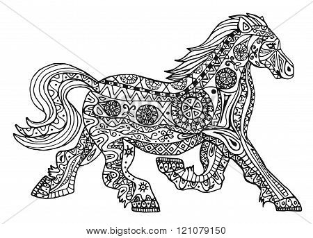 The Black And White Horse Print With Ethnic Zentangle Patterns.