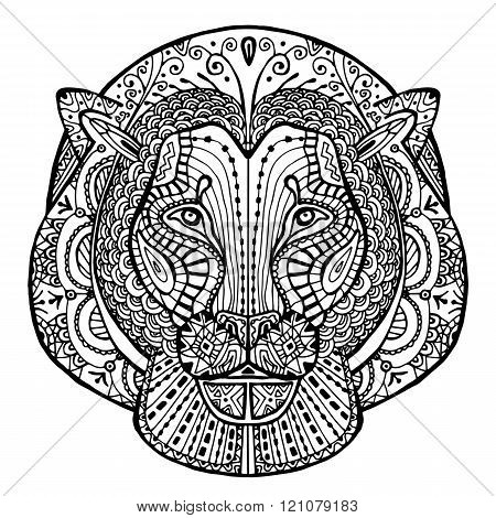 The Black And White Drawing Of A Lion With Patterns Zentangle.