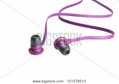a pair of purple earphones isolated on white background