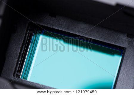 closeup sensor (CCD, CMOS) inside digital SRL camera